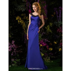 Sweep Brush Train Satin Chiffon Bridesmaid Dress Royal Blue Petite Sheath Column Scoop