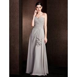 Floor-length Chiffon Bridesmaid Dress - Silver Plus Sizes / Petite A-line One Shoulder