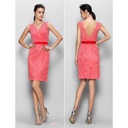 Knee Length Lace Bridesmaid Dress Watermelon Sheath Column V Neck