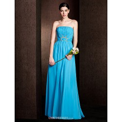 Floor Length Chiffon Stretch Satin Bridesmaid Dress Pool Plus Sizes Petite Sheath Column Strapless