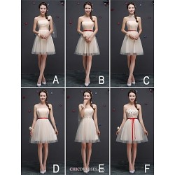 Knee Length Tulle Bridesmaid Dress Champagne A Line Strapless