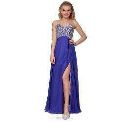 Formal Evening Dress Pool Sheath Column Strapless Floor Length Chiffon