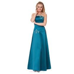 Formal Evening Dress Clover Sheath Column Strapless Floor Length Satin Chiffon