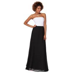 Formal Evening Dress Black Sheath Column Strapless Floor Length Chiffon
