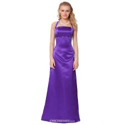 Formal Evening Dress Purple Sheath Column Halter Floor Length Satin Chiffon