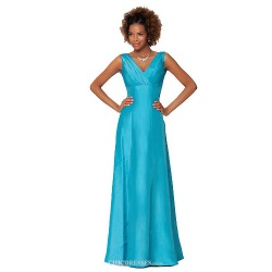 Formal Evening Dress - Light Sky Blue Sheath/Column V-neck Floor-length Taffeta