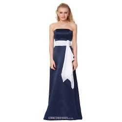 Formal Evening Dress Ink Blue Sheath Column Strapless Floor Length Satin Chiffon