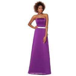 Formal Evening Dress Purple Sheath Column Strapless Floor Length Satin Chiffon