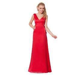 Formal Evening Dress Ruby Sheath Column V Neck Floor Length Satin Chiffon