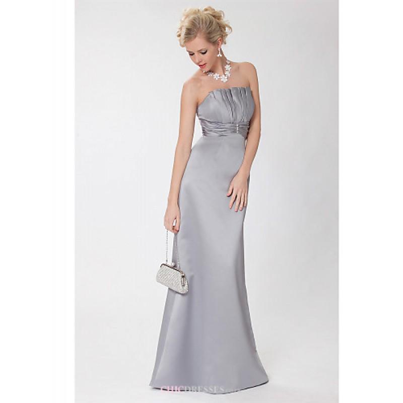 Formal Evening Dress Dark Grey Sheathcolumn Strapless Floor
