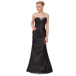 Formal Evening Dress Black Sheath Column Strapless Floor Length Taffeta