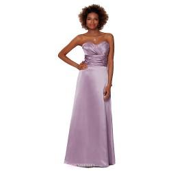 Formal Evening Dress Lavender Sheath Column Strapless Floor Length Satin Chiffon