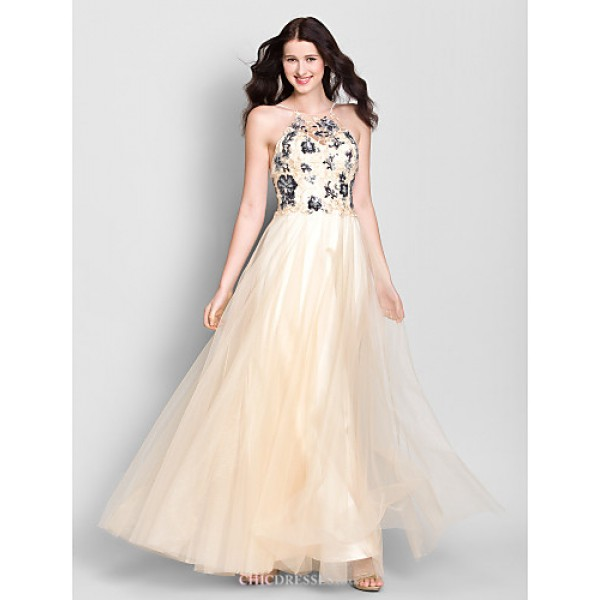 Ankle-length Chiffon / Tulle Bridesmaid Dress - Champagne A-line Spaghetti Straps Bridesmaid Dresses