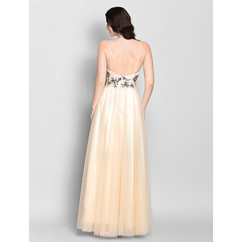 Ankle length chiffon tulle bridesmaid dress champagne for Chiffon tulle wedding dress