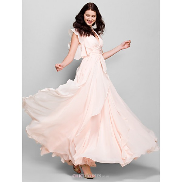 Ankle-length Chiffon Bridesmaid Dress - Pearl Pink A-line V-neck Bridesmaid Dresses
