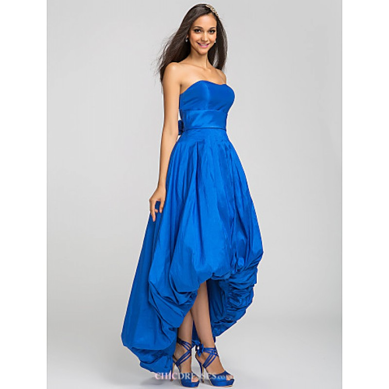 Asymmetrical Taffeta Bridesmaid Dress - Royal Blue Plus Sizes ...