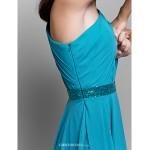 Ankle-length Chiffon Bridesmaid Dress - Pool A-line One Shoulder Bridesmaid Dresses