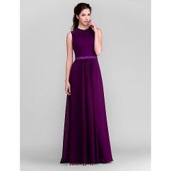 Floor Length Chiffon Bridesmaid Dress Grape Plus Sizes Petite Sheath Column Jewel
