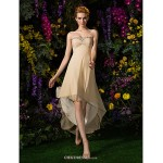Asymmetrical Georgette Bridesmaid Dress - Champagne Plus Sizes / Petite A-line Sweetheart Bridesmaid Dresses