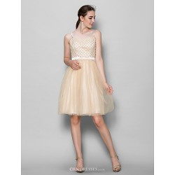Knee Length Tulle Bridesmaid Dress Champagne A Line Straps
