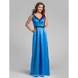 Floor Length Satin Bridesmaid Dress Ocean Blue Plus Sizes Petite Sheath Column V Neck