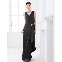 Floor-length Stretch Satin Bridesmaid Dress - Black Plus Sizes / Petite Sheath/Column V-neck