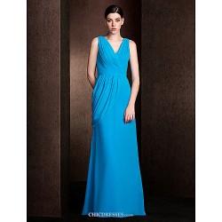 Floor Length Georgette Bridesmaid Dress Ocean Blue Plus Sizes Petite Sheath Column V Neck