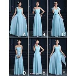 Ankle Length Chiffon Bridesmaid Dress Sky Blue A Line Strapless