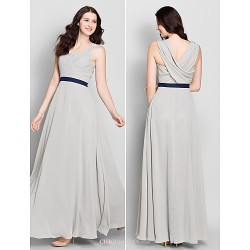 Ankle-length Chiffon Bridesmaid Dress - Silver A-line V-neck