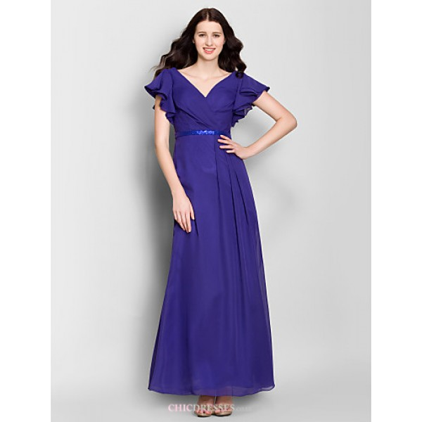 Ankle-length Chiffon Bridesmaid Dress - Regency Sheath/Column V-neck Bridesmaid Dresses