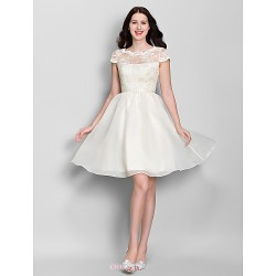 Knee-length Lace / Organza Bridesmaid Dress - Ivory A-line Scoop