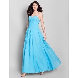 Ankle Length Chiffon Bridesmaid Dress Pool A Line Sweetheart