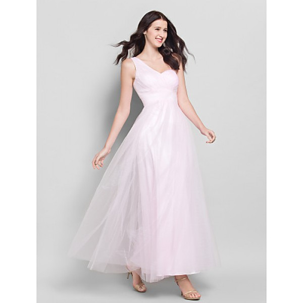 Ankle-length Tulle Bridesmaid Dress - Blushing Pink A-line One Shoulder Bridesmaid Dresses