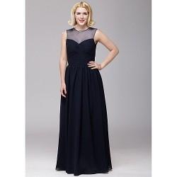 Floor Length Chiffon Bridesmaid Dress Dark Navy A Line Jewel