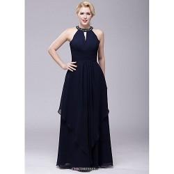 Floor-length Chiffon Bridesmaid Dress - Dark Navy A-line Halter