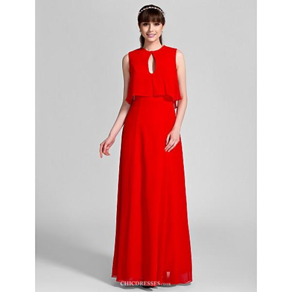 Floor-length Chiffon Bridesmaid Dress - Ruby Plus Sizes / Petite Sheath/Column Jewel Bridesmaid Dresses