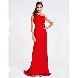 Sweep Brush Train Chiffon Bridesmaid Dress Ruby Plus Sizes Petite Sheath Column One Shoulder