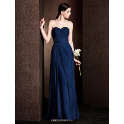 Floor Length Chiffon Stretch Satin Bridesmaid Dress Dark Navy Plus Sizes Petite Sheath Column Sweetheart