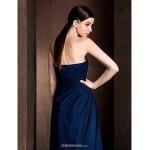 Floor-length Chiffon / Stretch Satin Bridesmaid Dress - Dark Navy Plus Sizes / Petite Sheath/Column Sweetheart Bridesmaid Dresses