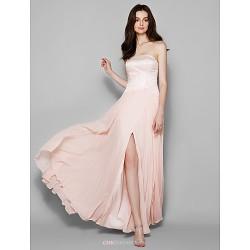 Floor Length Chiffon Lace Bridesmaid Dress Pearl Pink Plus Sizes Petite Sheath Column Strapless