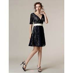 Knee-length Lace Bridesmaid Dress - Dark Navy Plus Sizes / Petite A-line V-neck