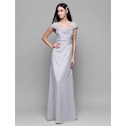 Ankle Length Chiffon Bridesmaid Dress Silver Sheath Column Square