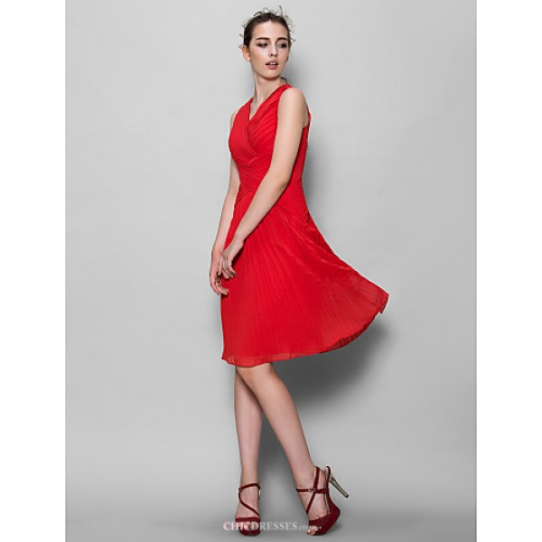 Knee-length Chiffon Bridesmaid Dress - Ruby A-line V-neck Bridesmaid Dresses