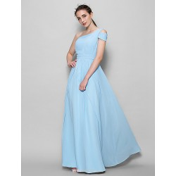 Floor Length Georgette Bridesmaid Dress Sky Blue A Line One Shoulder