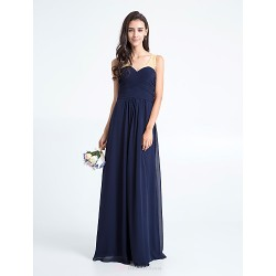 Floor-length Chiffon Bridesmaid Dress - Dark Navy Plus Sizes / Petite Sheath/Column V-neck
