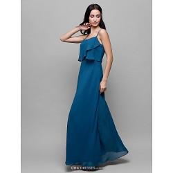 Ankle Length Chiffon Bridesmaid Dress Ocean Blue Sheath Column Spaghetti Straps