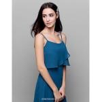 Ankle-length Chiffon Bridesmaid Dress - Ocean Blue Sheath/Column Spaghetti Straps Bridesmaid Dresses