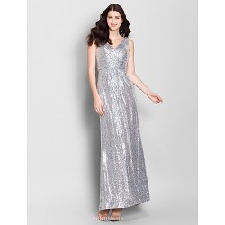 Ankle-length Chiffon Bridesmaid Dress - Silver Sheath/Column V-neck