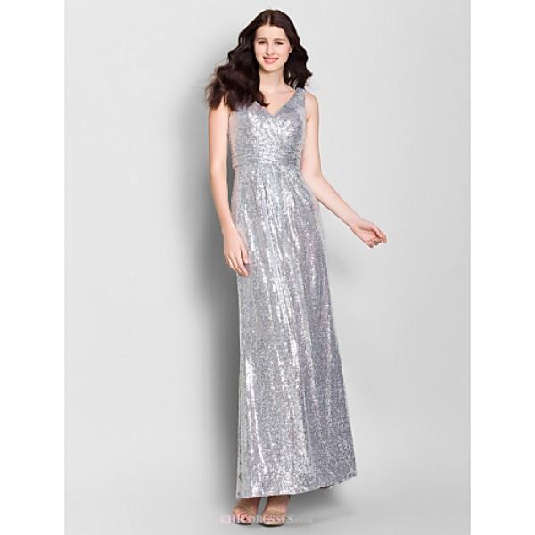 Ankle-length Chiffon Bridesmaid Dress - Silver Sheath/Column V-neck Bridesmaid Dresses