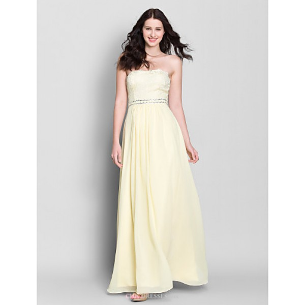 Ankle-length Chiffon Bridesmaid Dress - Daffodil A-line Strapless Bridesmaid Dresses